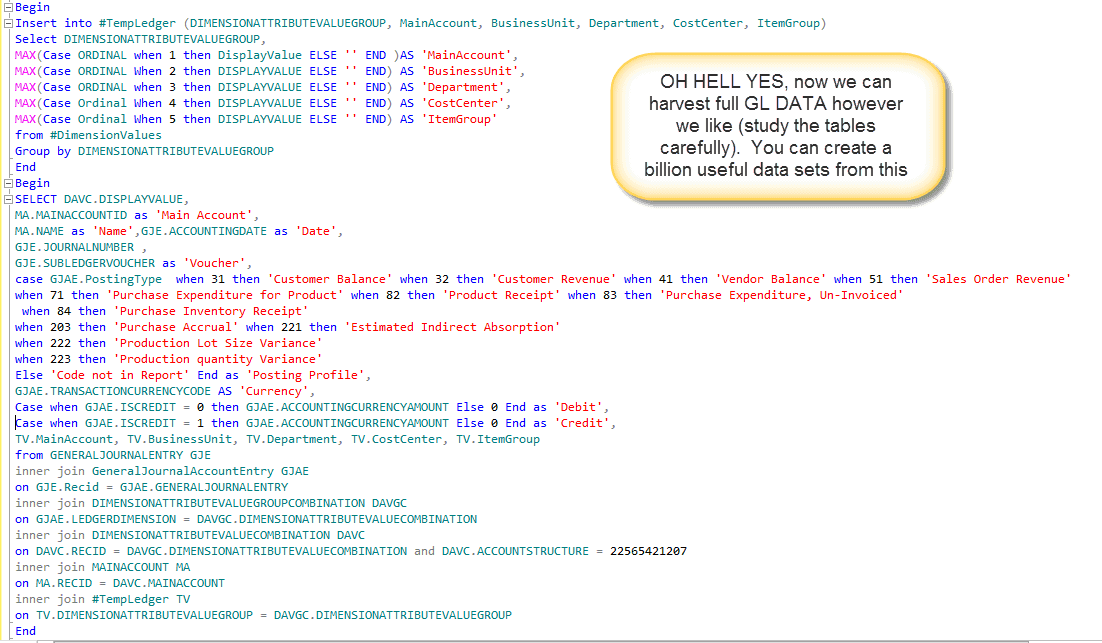 SQL for General ledger data by Dimension for building Non-AX