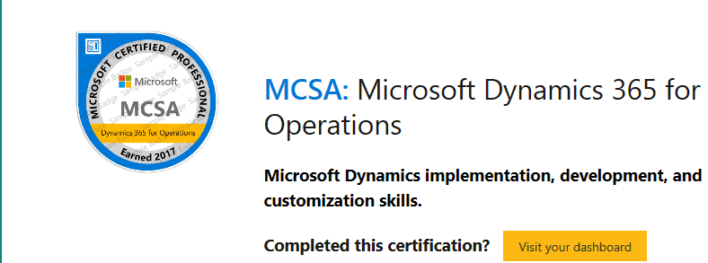 to get the mcsa microsoft dynamics 365 for operations